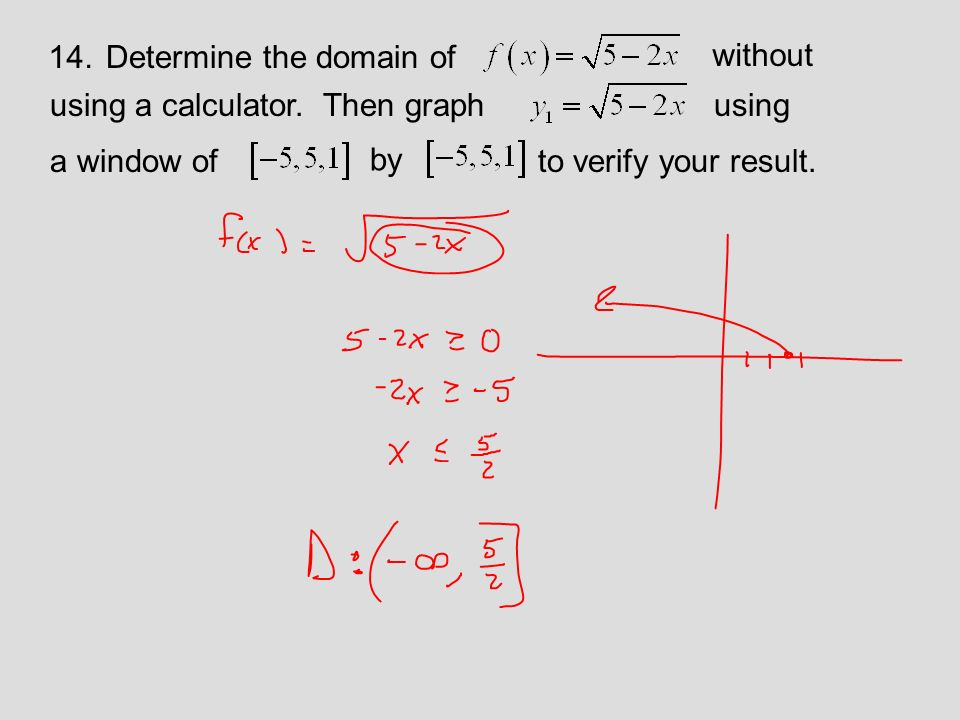 14.Determine the domain of using a calculator.