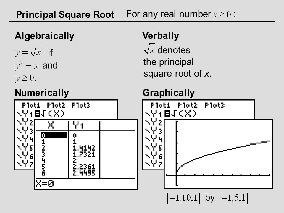Principal Square Root Algebraically Verbally Numerically For any real number : if and denotes the principal square root of x.