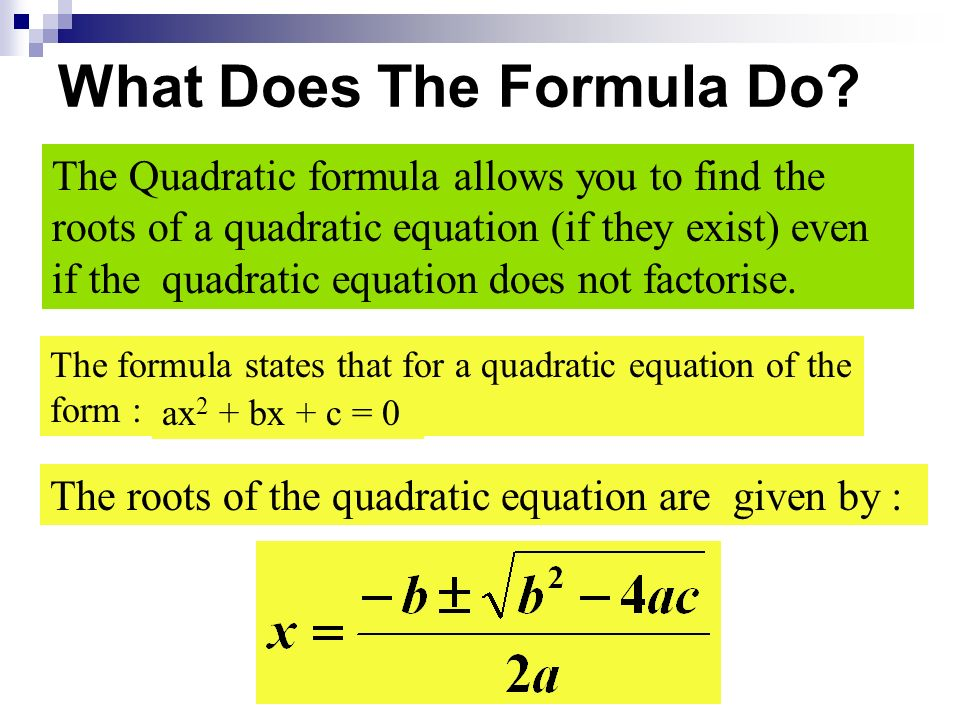 What Does The Formula Do.