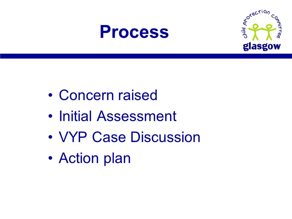 Concern raised Initial Assessment VYP Case Discussion Action plan Process