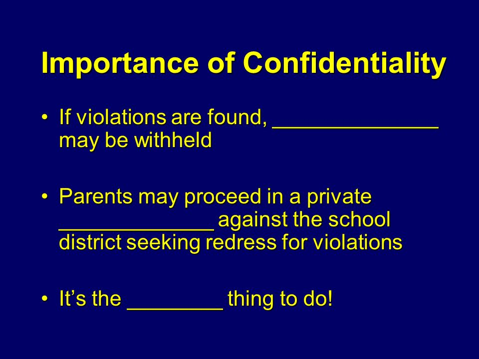 importance of confidentiality in schools
