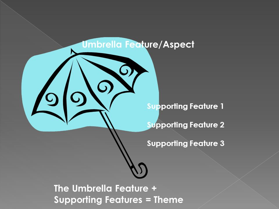 Supporting Feature 1 Supporting Feature 2 Supporting Feature 3 Umbrella Feature/Aspect The Umbrella Feature + Supporting Features = Theme
