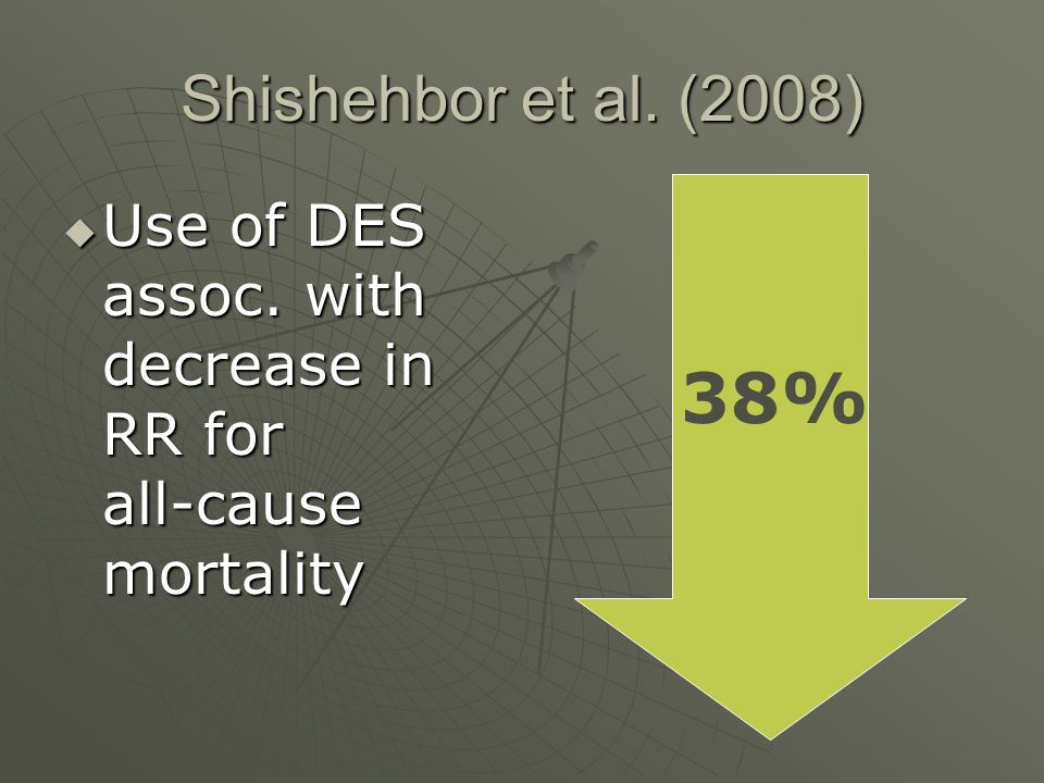 Shishehbor et al. (2008)  Use of DES assoc. with decrease in RR for all-cause mortality 38%