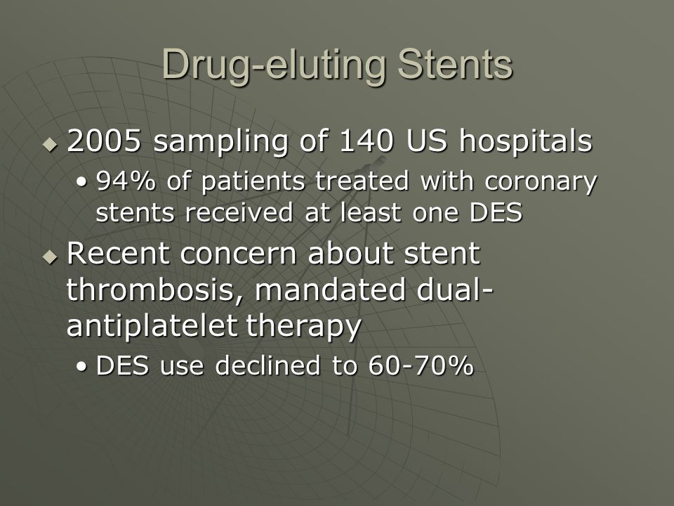 Drug-eluting Stents  2005 sampling of 140 US hospitals 94% of patients treated with coronary stents received at least one DES94% of patients treated with coronary stents received at least one DES  Recent concern about stent thrombosis, mandated dual- antiplatelet therapy DES use declined to 60-70%DES use declined to 60-70%