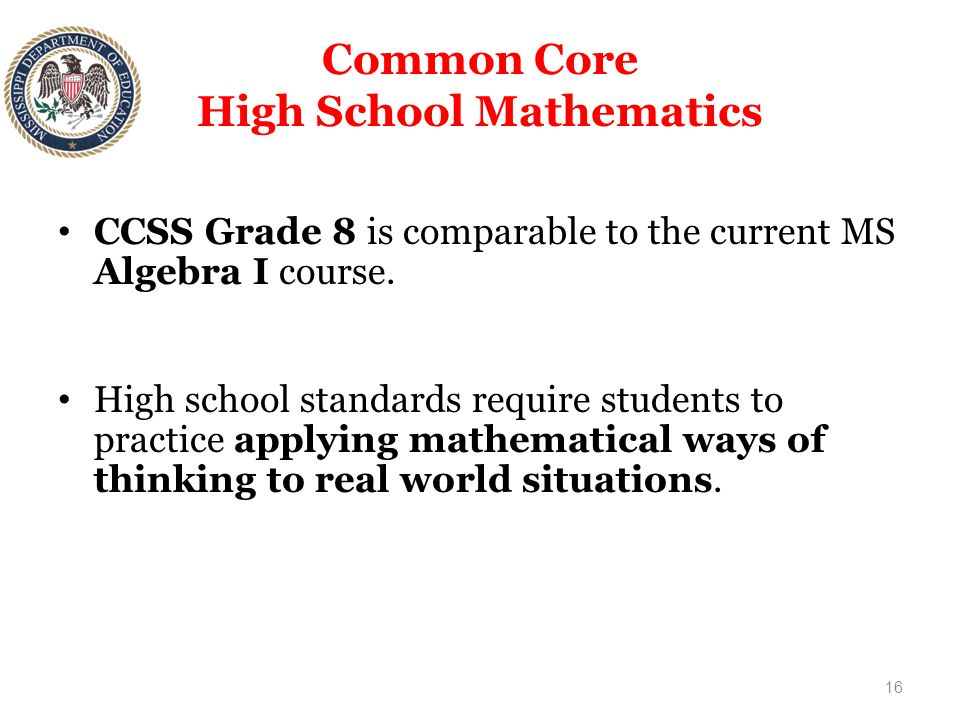 Mississippi Department of Education Common Core State