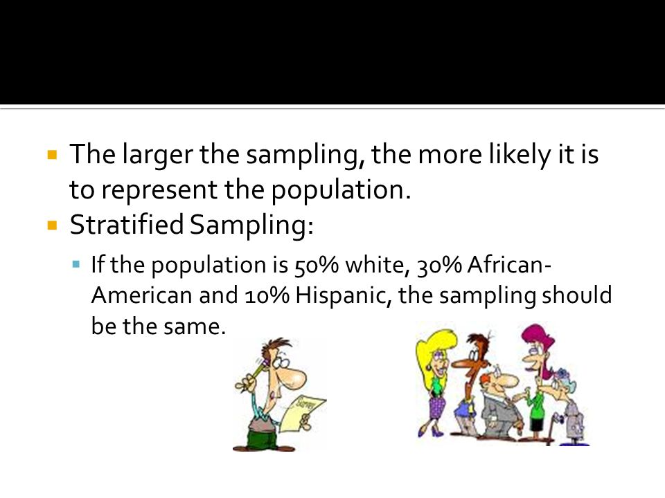  The larger the sampling, the more likely it is to represent the population.