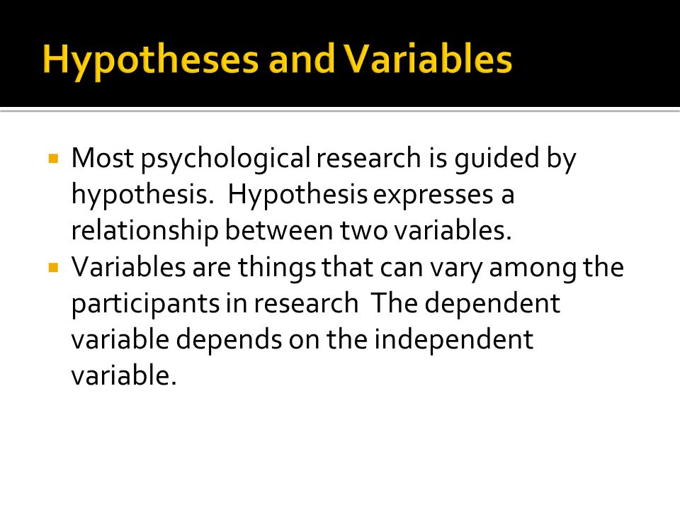  Most psychological research is guided by hypothesis.