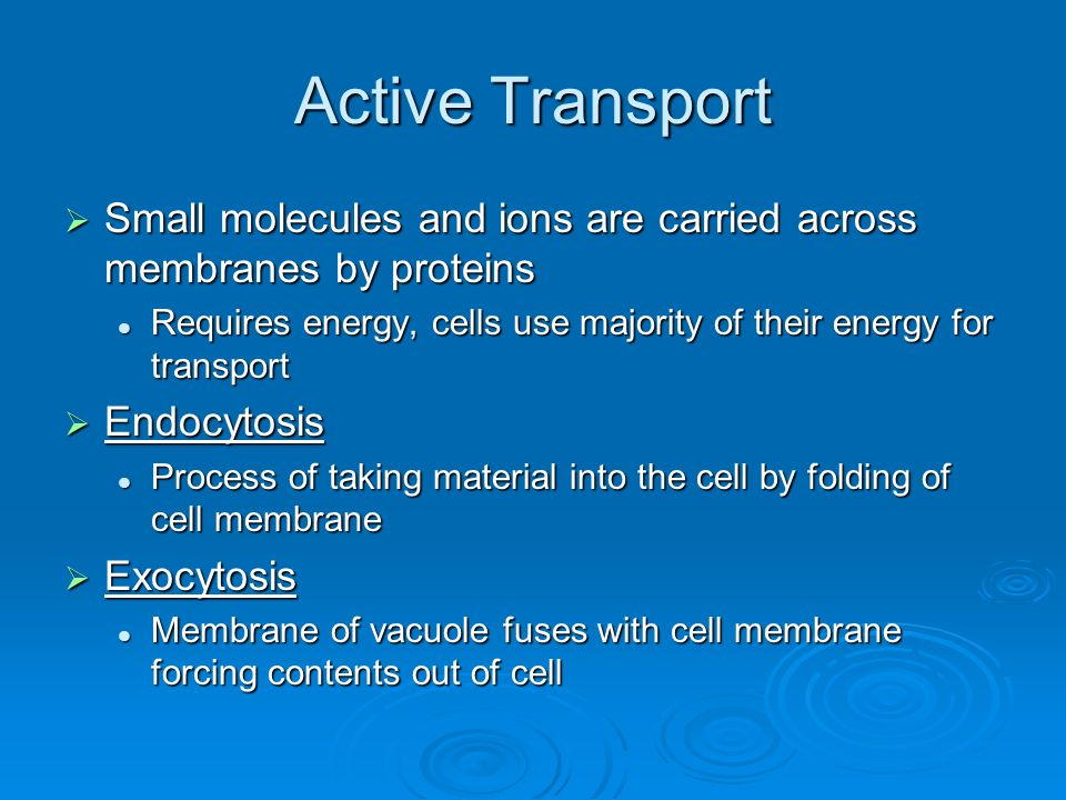 Active Transport  Small molecules and ions are carried across membranes by proteins Requires energy, cells use majority of their energy for transport Requires energy, cells use majority of their energy for transport  Endocytosis Process of taking material into the cell by folding of cell membrane Process of taking material into the cell by folding of cell membrane  Exocytosis Membrane of vacuole fuses with cell membrane forcing contents out of cell Membrane of vacuole fuses with cell membrane forcing contents out of cell