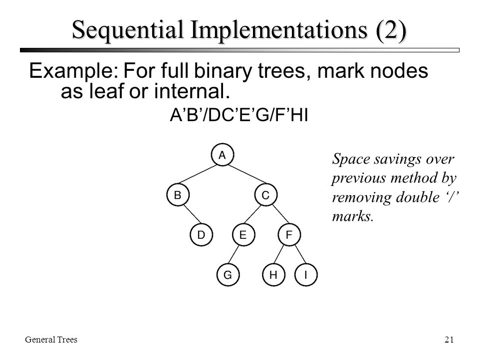 General Trees21 Sequential Implementations (2) Example: For full binary trees, mark nodes as leaf or internal.