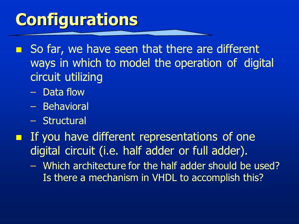 eng6090 reconfigurable computing systems hardware description3 configurations so far, we have seen that there are different ways in which to model the operation of digital circuit utilizing \u2013data flow \u2013behavioral
