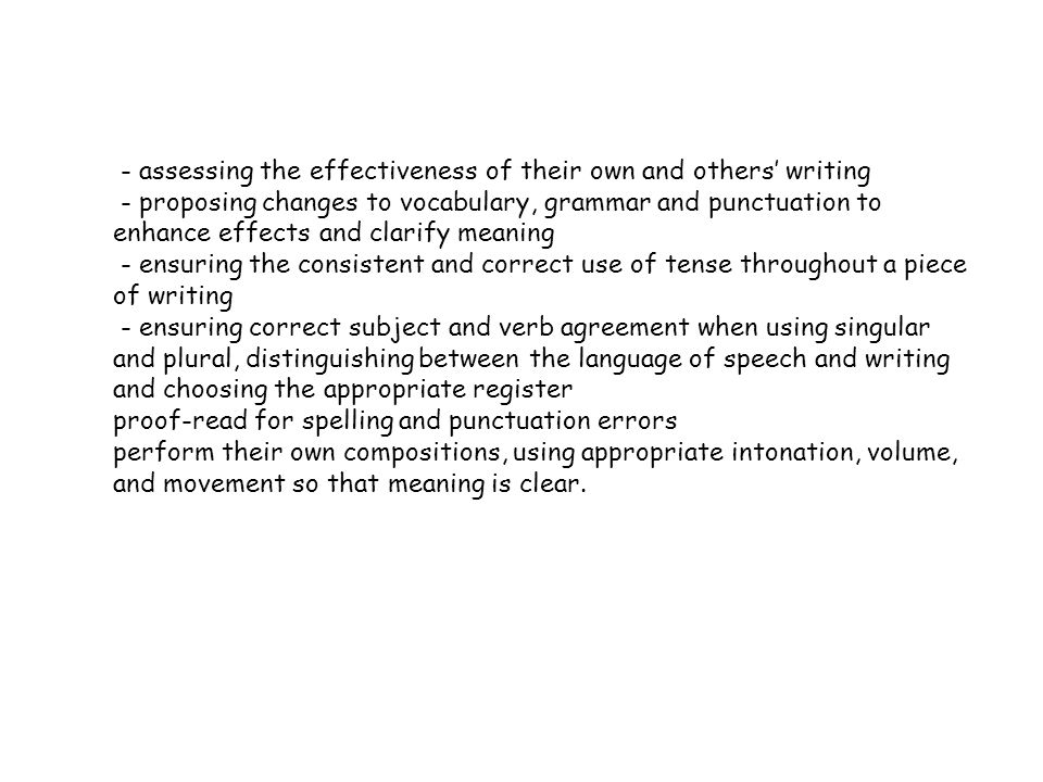 - assessing the effectiveness of their own and others' writing - proposing changes to vocabulary, grammar and punctuation to enhance effects and clarify meaning - ensuring the consistent and correct use of tense throughout a piece of writing - ensuring correct subject and verb agreement when using singular and plural, distinguishing between the language of speech and writing and choosing the appropriate register proof-read for spelling and punctuation errors perform their own compositions, using appropriate intonation, volume, and movement so that meaning is clear.