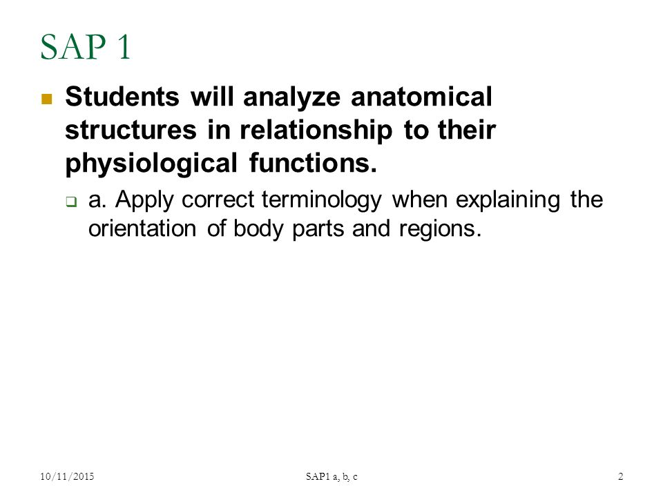 SAP 1 Students will analyze anatomical structures in relationship to their physiological functions.