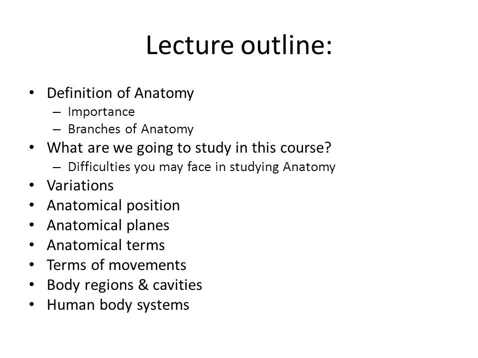 Introduction To Anatomy B Pharm Lecture 1 Dr Abubakr H Mossa Sr