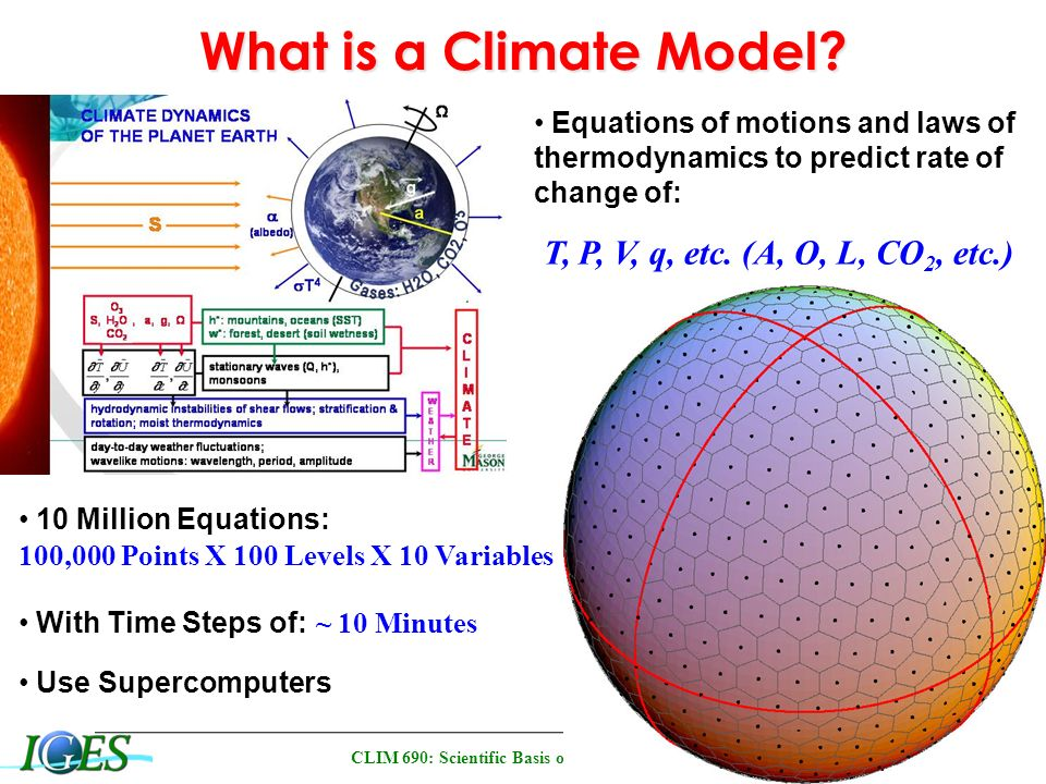 CLIM 690: Scientific Basis of Climate Change Climate Models