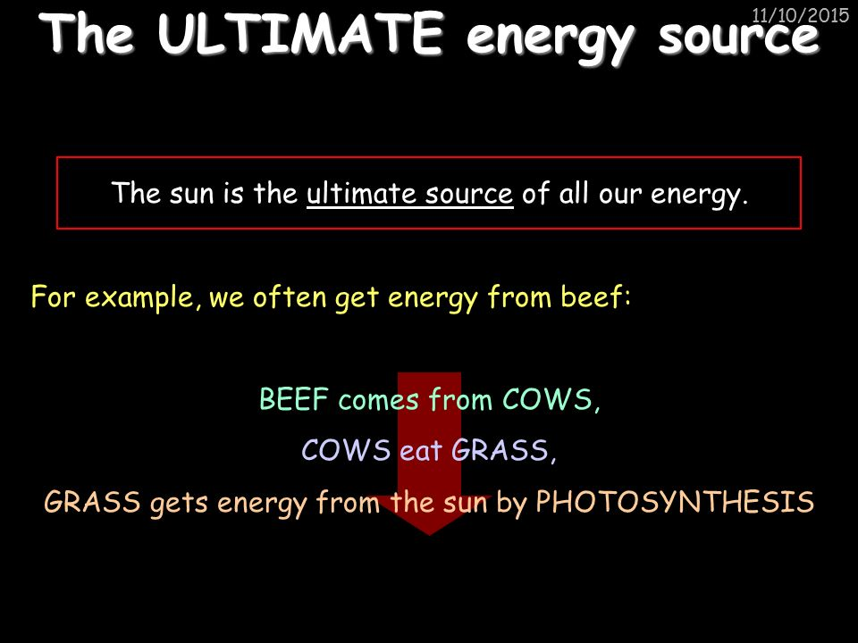 11/10/2015 The ULTIMATE energy source The sun is the ultimate source of all our energy.