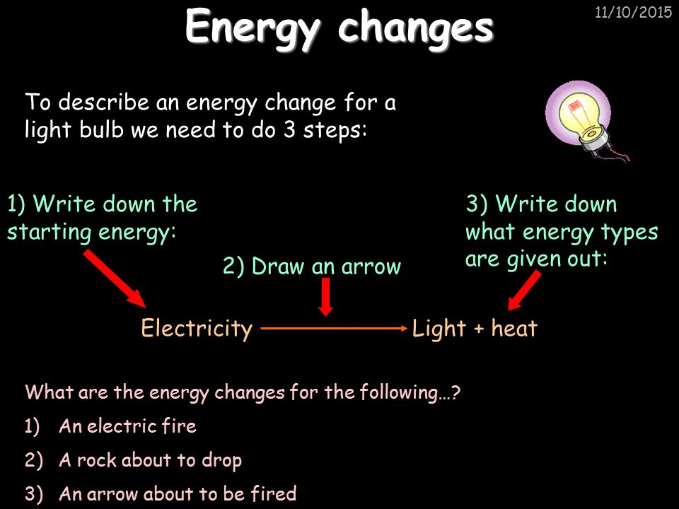 11/10/2015 Energy changes To describe an energy change for a light bulb we need to do 3 steps: Electricity Light + heat 1) Write down the starting energy: 3) Write down what energy types are given out: 2) Draw an arrow What are the energy changes for the following….
