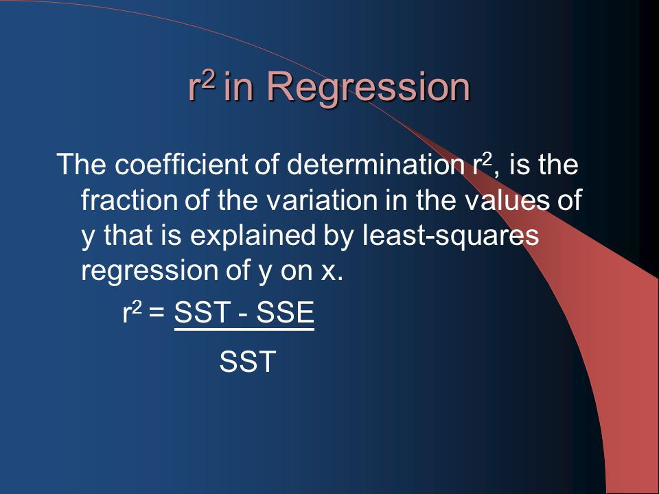 r 2 in Regression The coefficient of determination r 2, is the fraction of the variation in the values of y that is explained by least-squares regression of y on x.