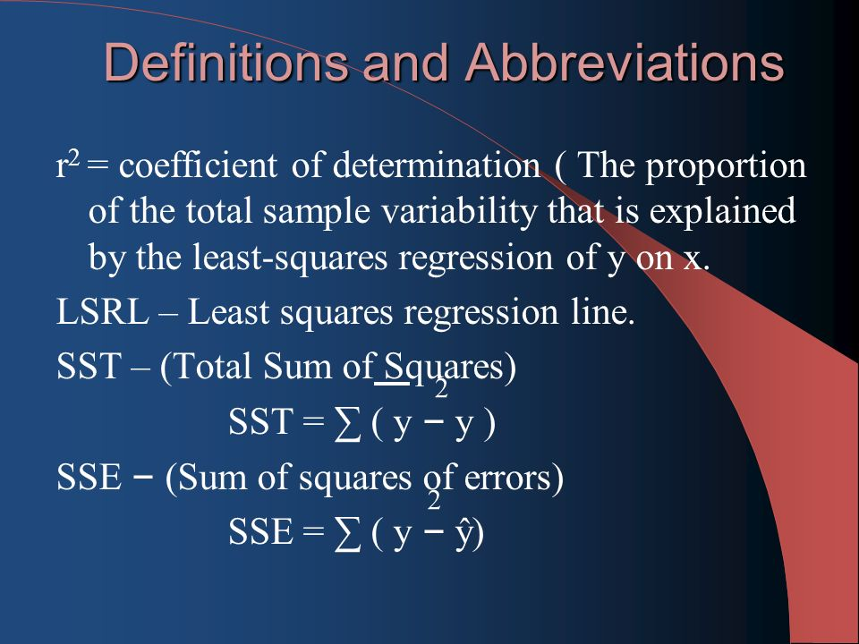 Definitions and Abbreviations r 2 = coefficient of determination ( The proportion of the total sample variability that is explained by the least-squares regression of y on x.