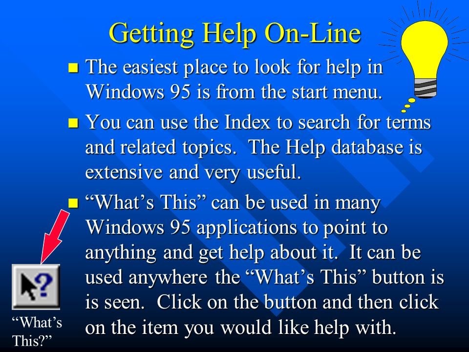 Introducing Windows 95  Today's Agenda n Overview n Windows for
