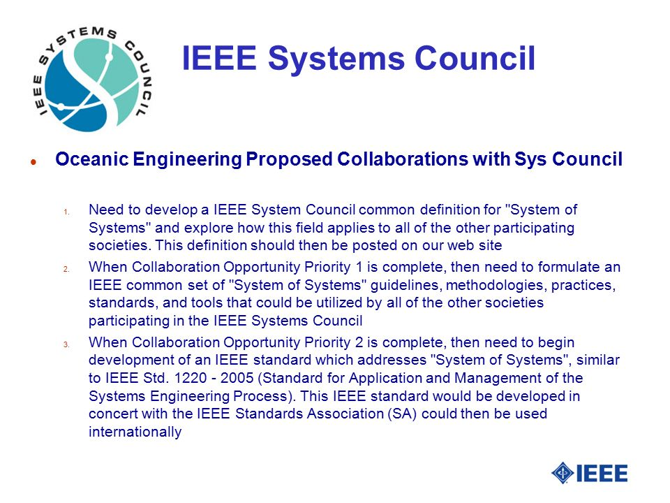 IEEE Systems Council l Oceanic Engineering Proposed Collaborations with Sys Council 1.