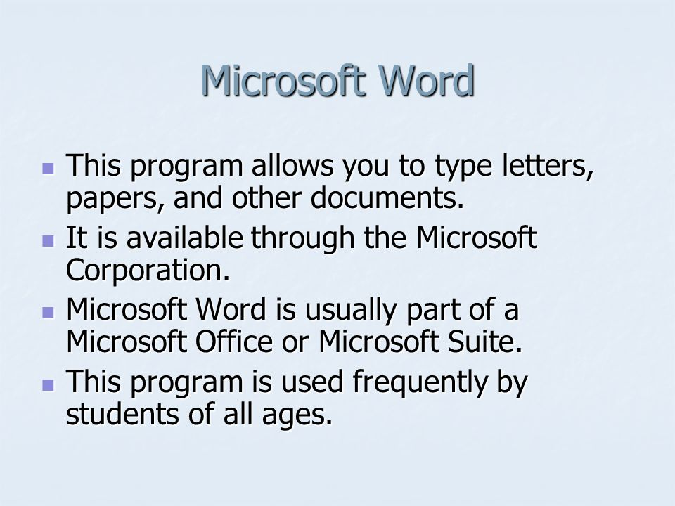 an introduction to microsoft word microsoft word this program