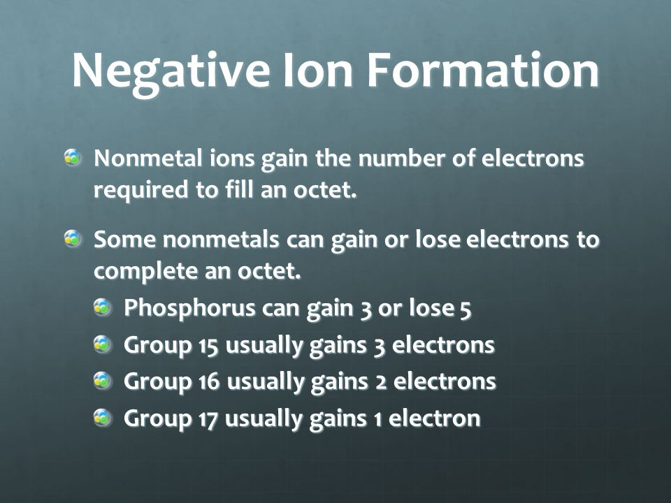 Negative Ion Formation An anion is a negatively charged ion.