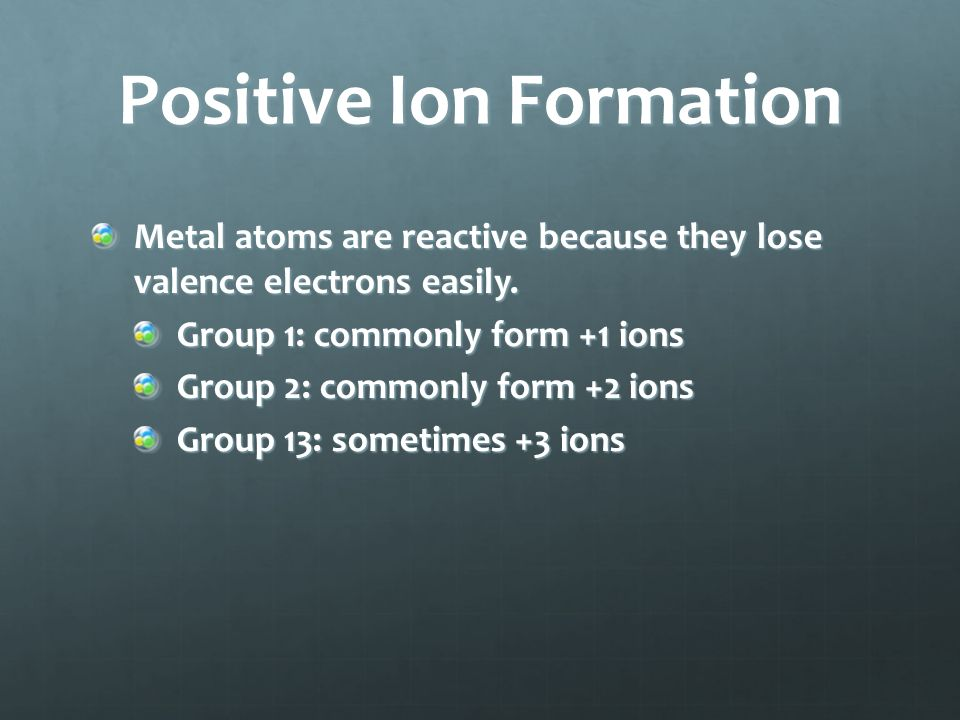 Positive Ion Formation Cation – positively charged ion Example: Sodium atom: 1s 2 2s 2 p 6 3s 1 Sodium ion: 1s 2 2s 2 p 6 = neon