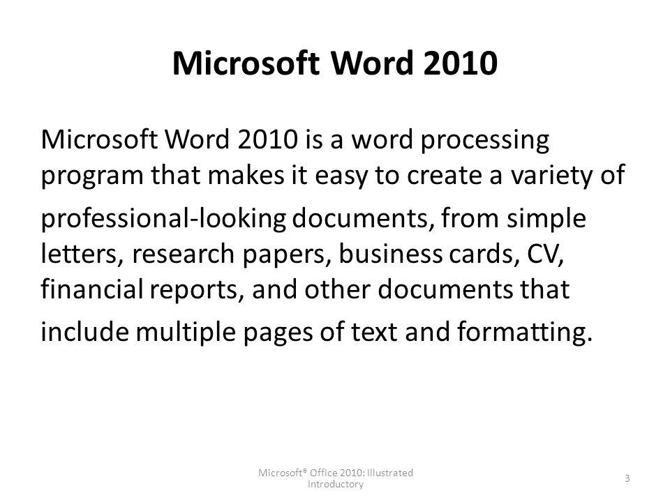 Msoffice word 1 microsoft office 2010 illustrated introductory 3 microsoft word 2010 microsoft word reheart Choice Image