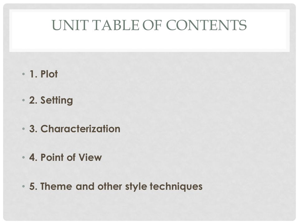 UNIT TABLE OF CONTENTS 1. Plot 2. Setting 3. Characterization 4.