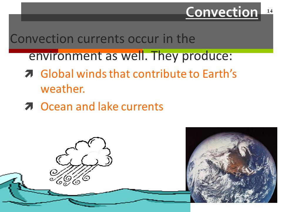 Convection Convection currents occur in the environment as well.