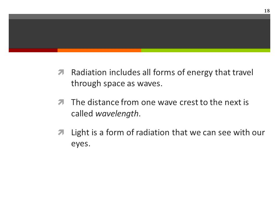  Radiation includes all forms of energy that travel through space as waves.