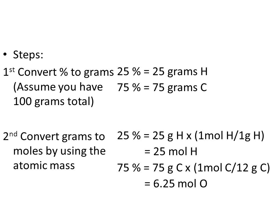 Steps: 1 st Convert % to grams (Assume you have 100 grams total) 2 nd Convert grams to moles by using the atomic mass 25 % = 25 grams H 75 % = 75 grams C 25 % = 25 g H x (1mol H/1g H) = 25 mol H 75 % = 75 g C x (1mol C/12 g C) = 6.25 mol O
