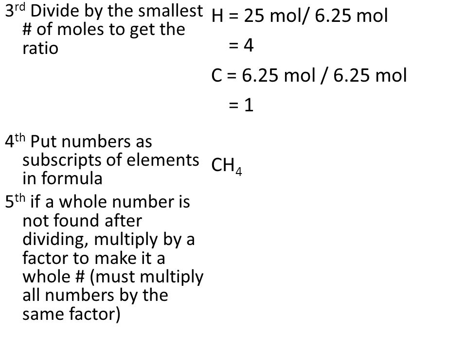 3 rd Divide by the smallest # of moles to get the ratio 4 th Put numbers as subscripts of elements in formula 5 th if a whole number is not found after dividing, multiply by a factor to make it a whole # (must multiply all numbers by the same factor) H = 25 mol/ 6.25 mol = 4 C = 6.25 mol / 6.25 mol = 1 CH 4