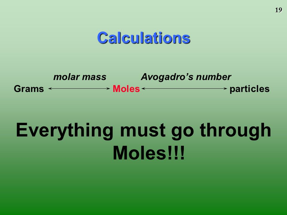 18 Atoms/Molecules and Grams Since 6.02 X particles = 1 mole AND 1 mole = molar mass (grams) You can convert atoms/molecules to moles and then moles to grams.
