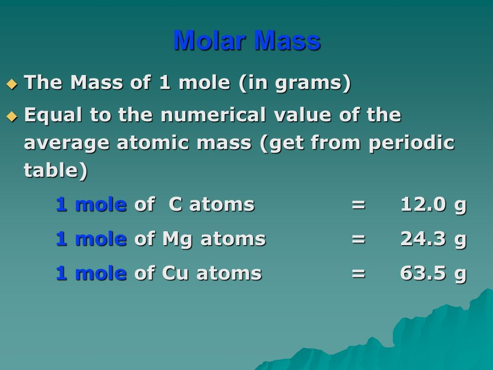 The Mass of 1 mole (in grams)  Equal to the numerical value of the average atomic mass (get from periodic table) 1 mole of C atoms= 12.0 g 1 mole of C atoms= 12.0 g 1 mole of Mg atoms =24.3 g 1 mole of Cu atoms =63.5 g Molar Mass