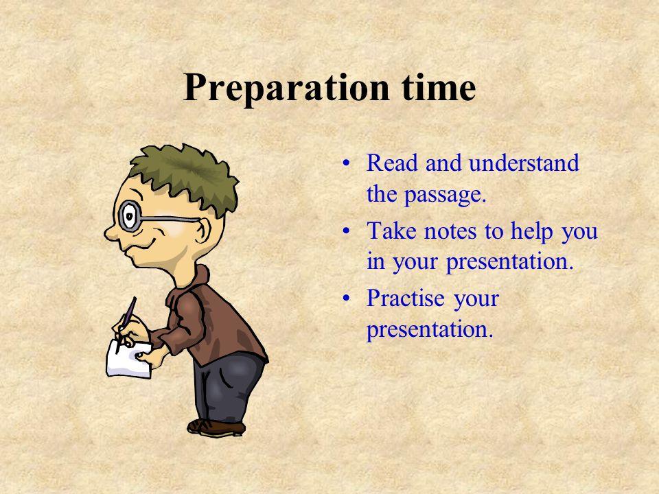 Individual Presentation Preparation time: 10 minutes