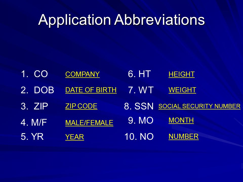Application Abbreviations 1. CO 2. DOB 3. ZIP 4.