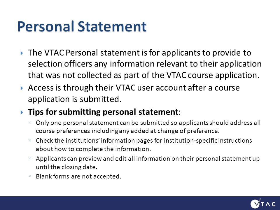 vtac personal statement tips