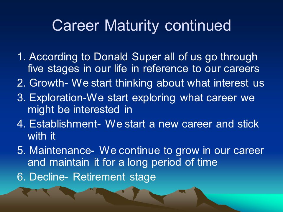 What is career maturity