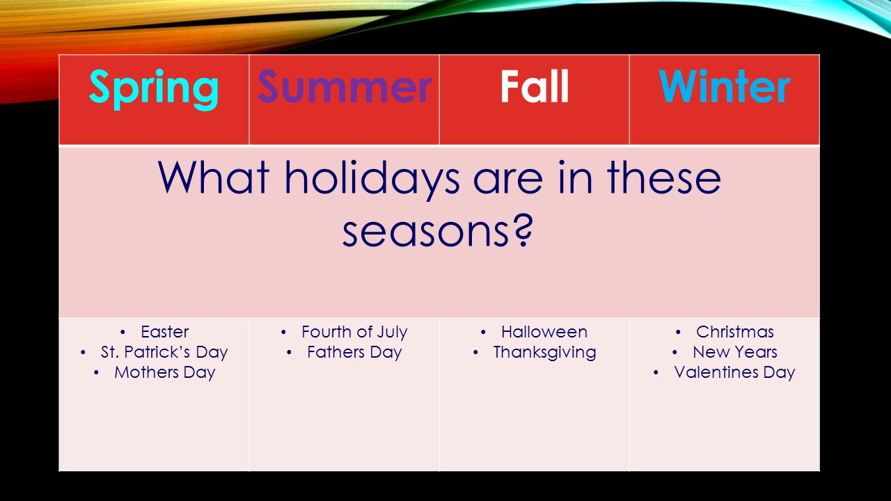 SpringSummerFallWinter What holidays are in these seasons.