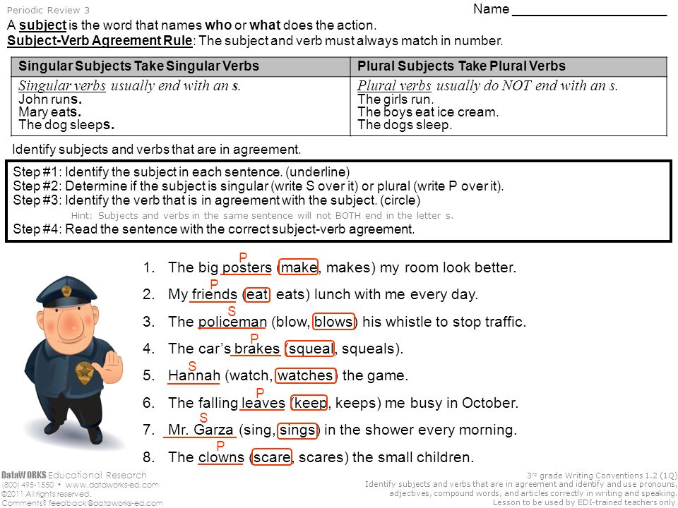 3 Rd Grade Writing Conventions 12 1q Identify Subjects And Verbs