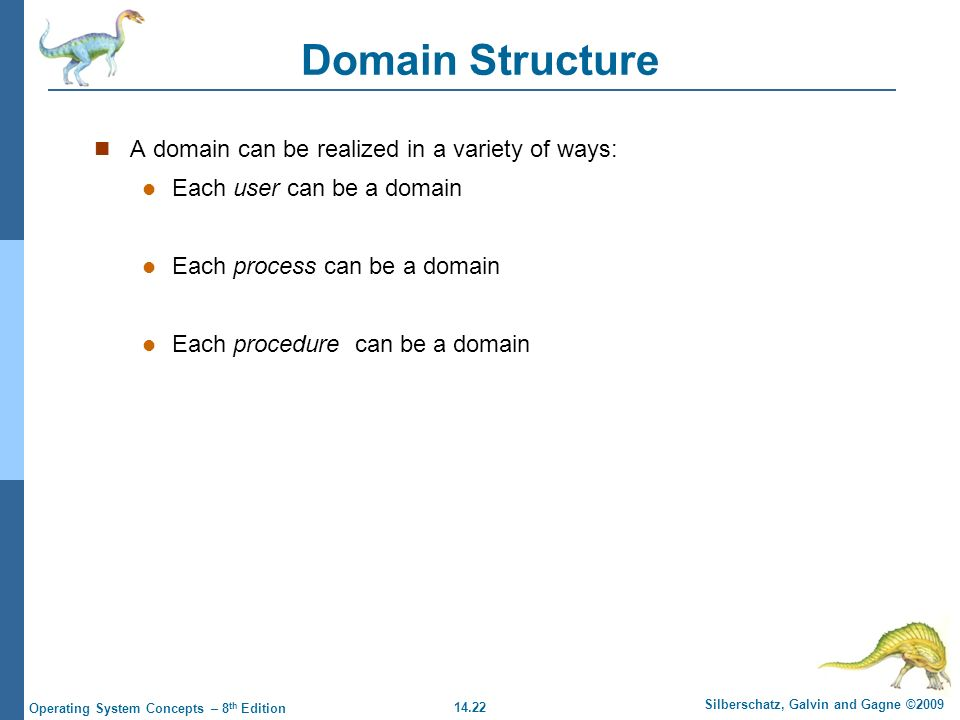 14.22 Silberschatz, Galvin and Gagne ©2009 Operating System Concepts – 8 th Edition Domain Structure A domain can be realized in a variety of ways: Each user can be a domain Each process can be a domain Each procedure can be a domain