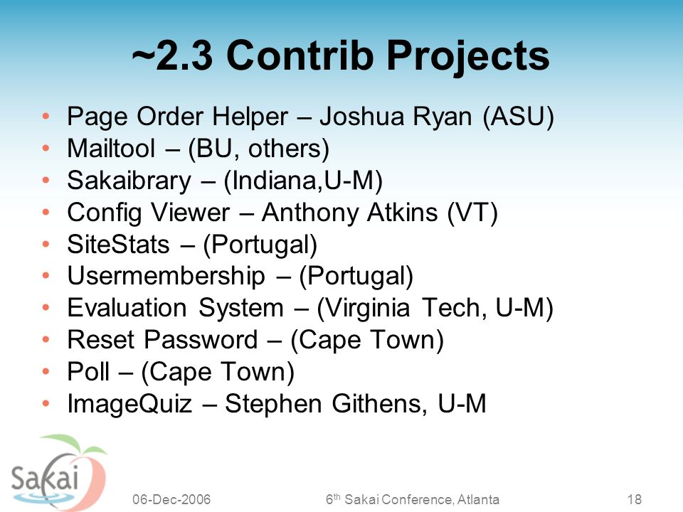 Project Coordination Update Sakai 2 3 And Beyond Peter A Knoop