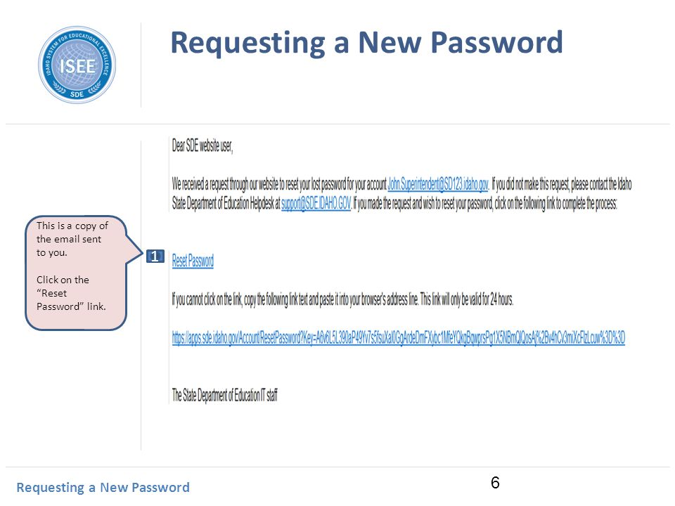 Idaho Instructional Management System Requesting a New Password This is a copy of the  sent to you.