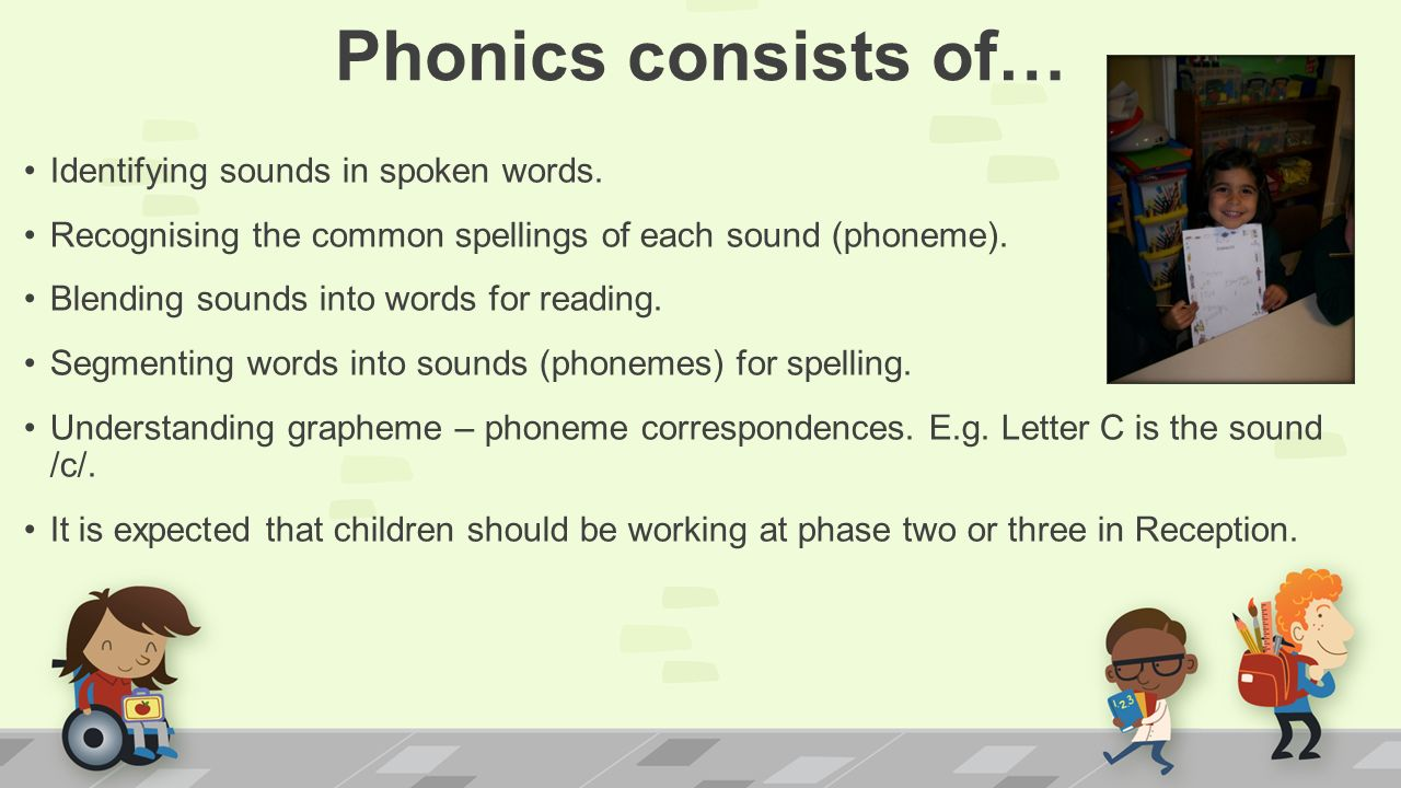 Phonics consists of… Identifying sounds in spoken words.