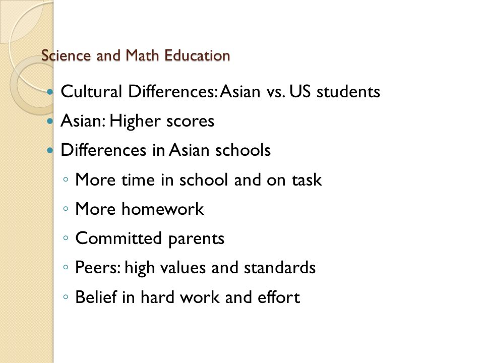 Science and Math Education Cultural Differences: Asian vs.
