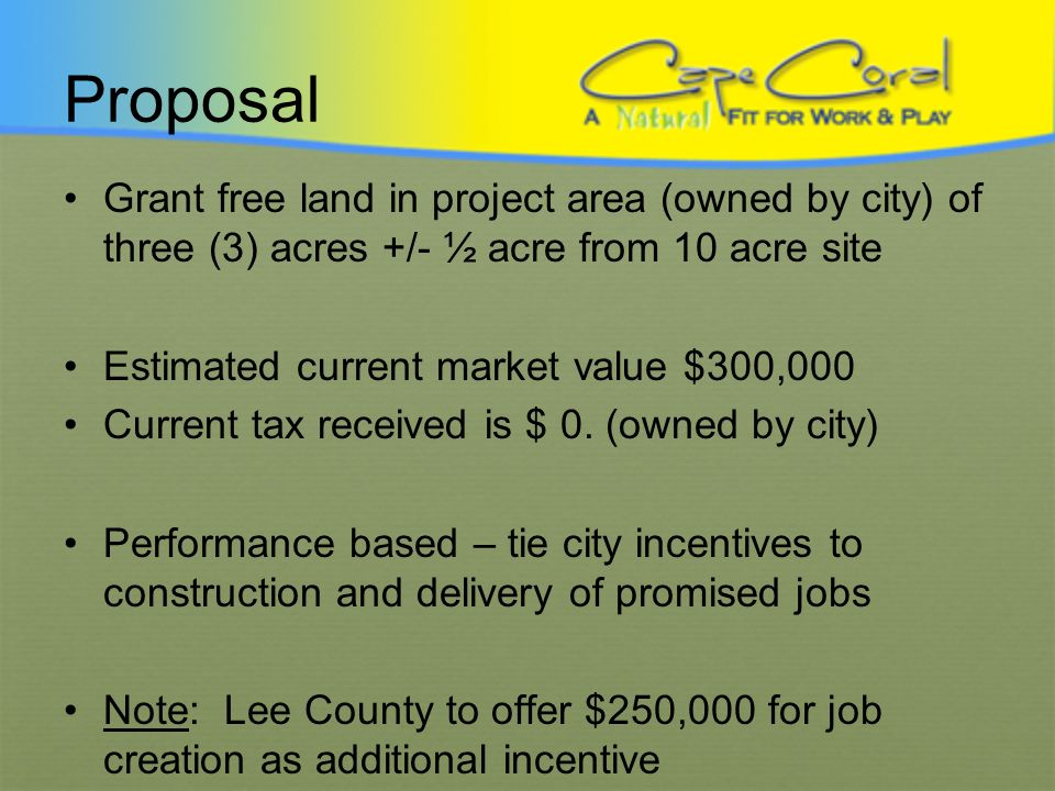 City Land Based Customized Incentive Proposal City Centrum Economic