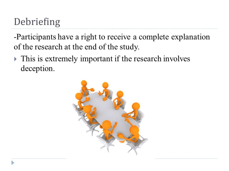 Debriefing -Participants have a right to receive a complete explanation of the research at the end of the study.