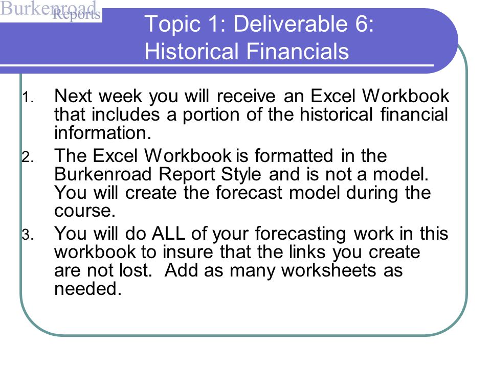 Forecasting Overview and Historicals Deliverable September