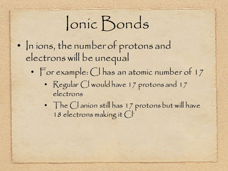 Ionic Bonds In ions, the number of protons and electrons will be unequal For example: Cl has an atomic number of 17 Regular Cl would have 17 protons and 17 electrons The Cl anion still has 17 protons but will have 18 electrons making it Cl - In ions, the number of protons and electrons will be unequal For example: Cl has an atomic number of 17 Regular Cl would have 17 protons and 17 electrons The Cl anion still has 17 protons but will have 18 electrons making it Cl -